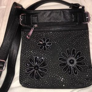 Black and silver flower detailed cross body bag